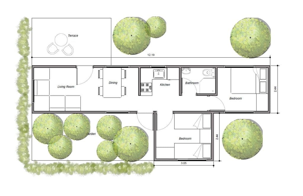 House made with flat containers for free download in PDF format, two containers, one 40' long and one 10' long.
