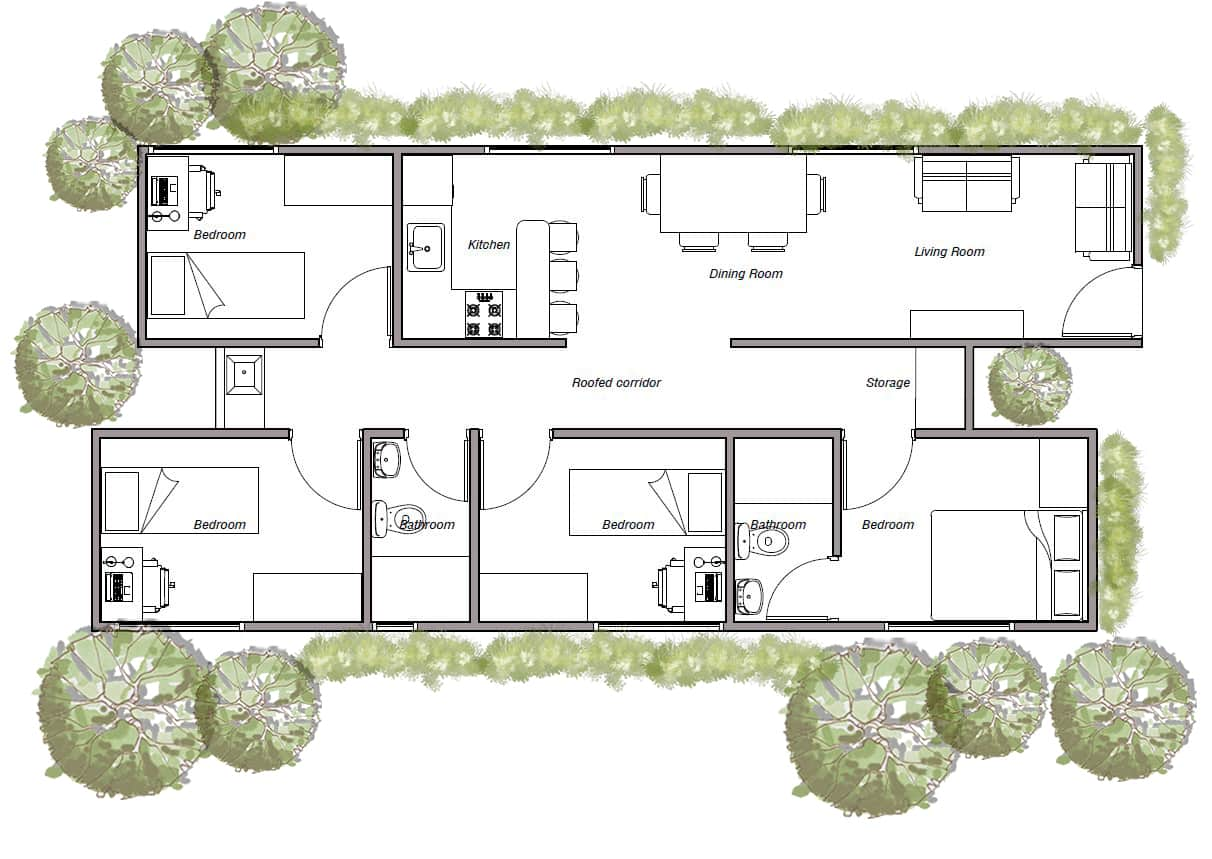 Shipping container home with two 40' container and four bedroom, plans in pdf for free download