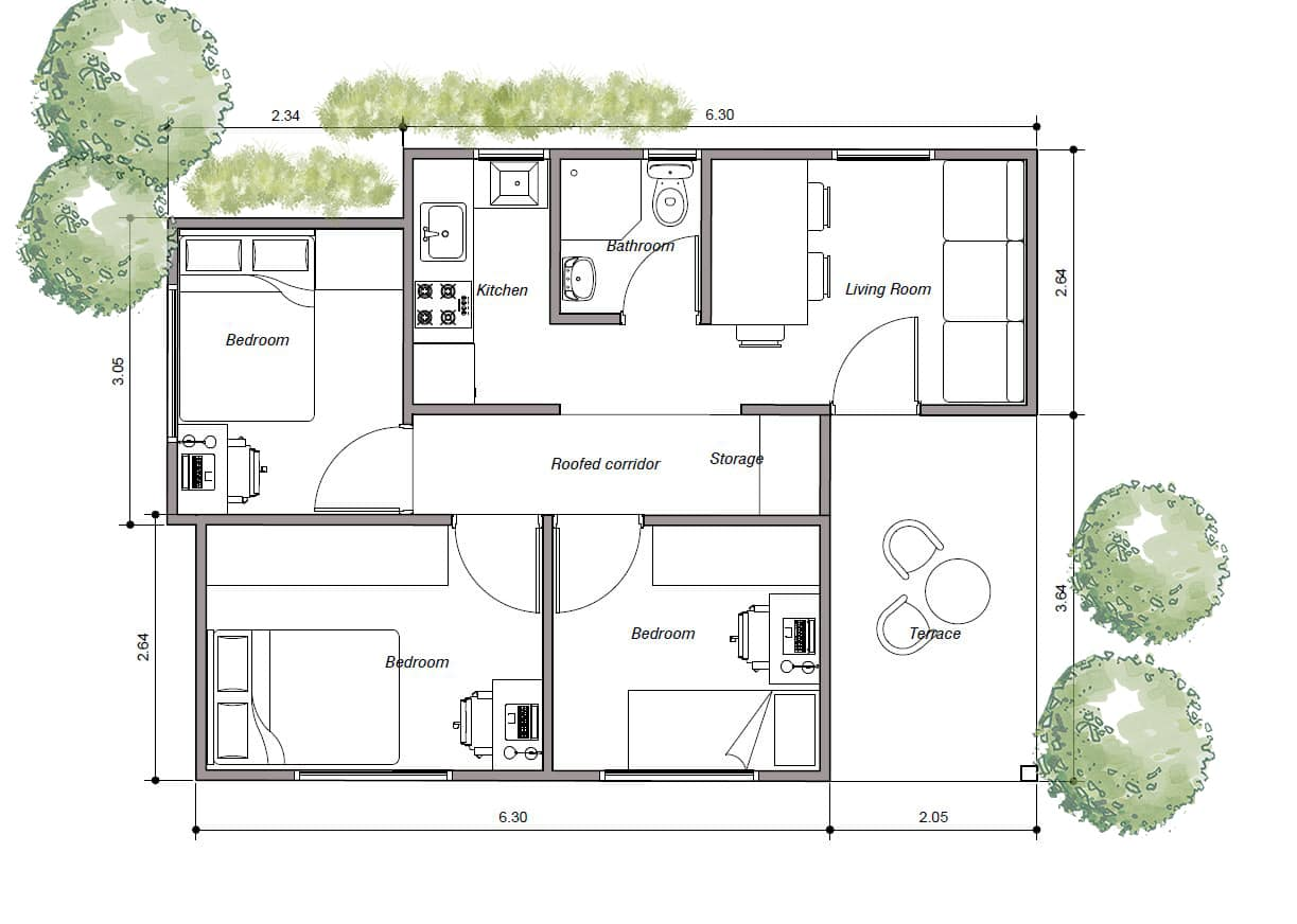 Shipping container house floor plan, three bedroom, House made with three containers three plane for free download in PDF format, two containers of 20' long and another of 10' long.