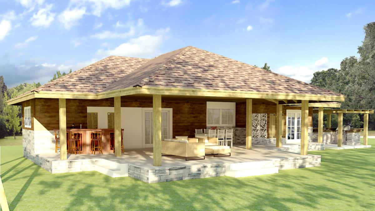 Architectural plans in PDF of small rural house with two bedrooms.
