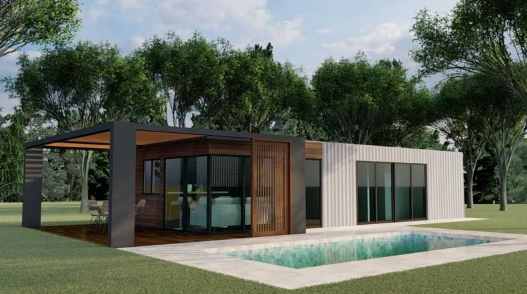 House made with two 40 feet long containers, plans in PDF and 3D for free download