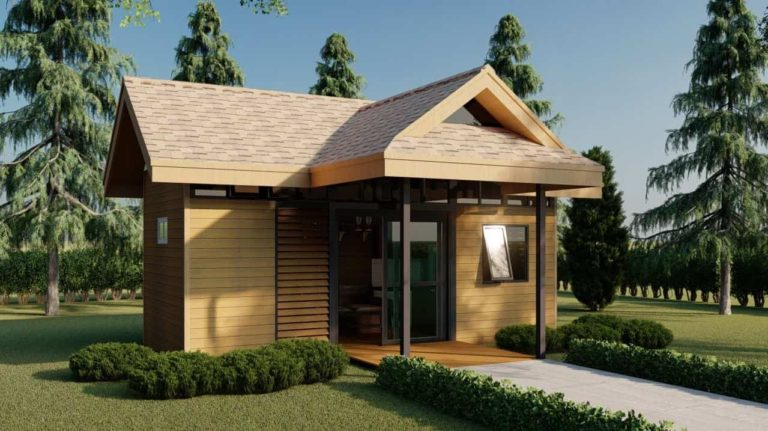 Tiny house plans with interior design 235 sq. ft.
