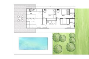 House made of two bedroom containers with terrace and outdoor pool, house made with two 40 ft long containers.
