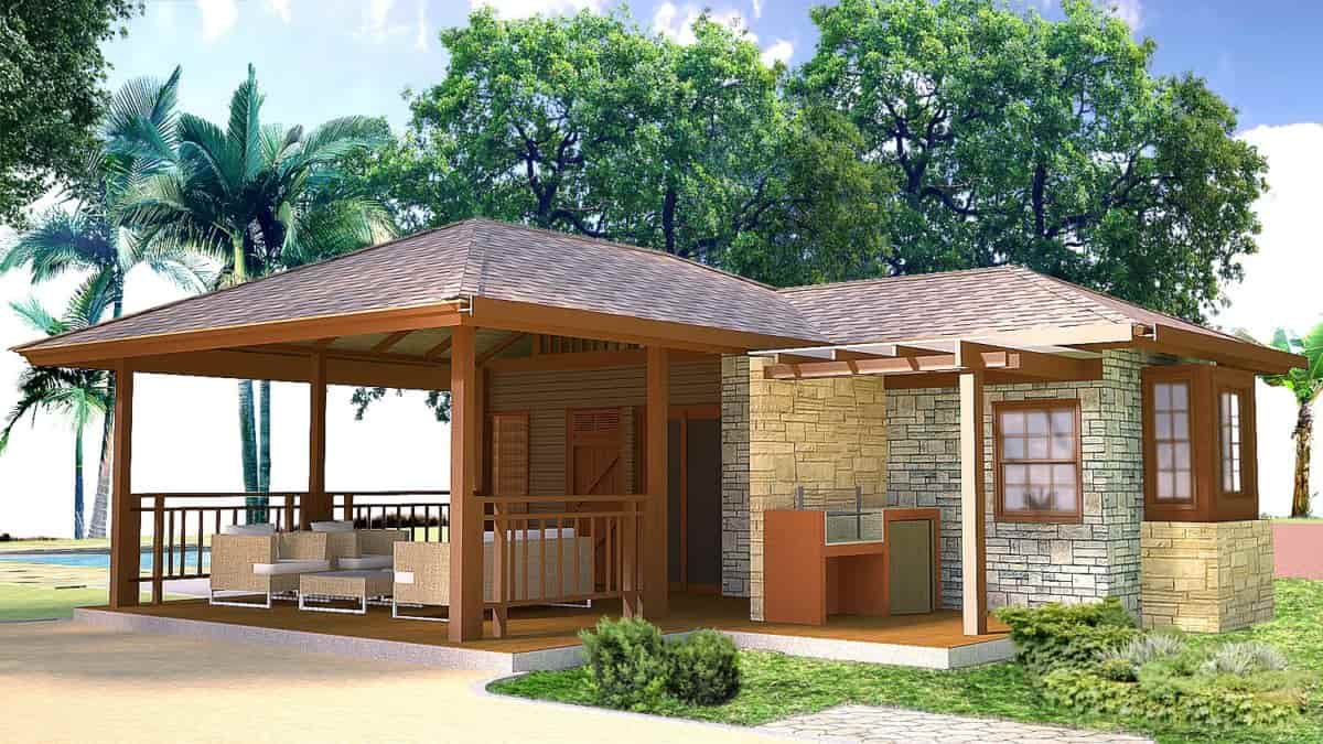 PDF map for free download of small bungalow with two rooms