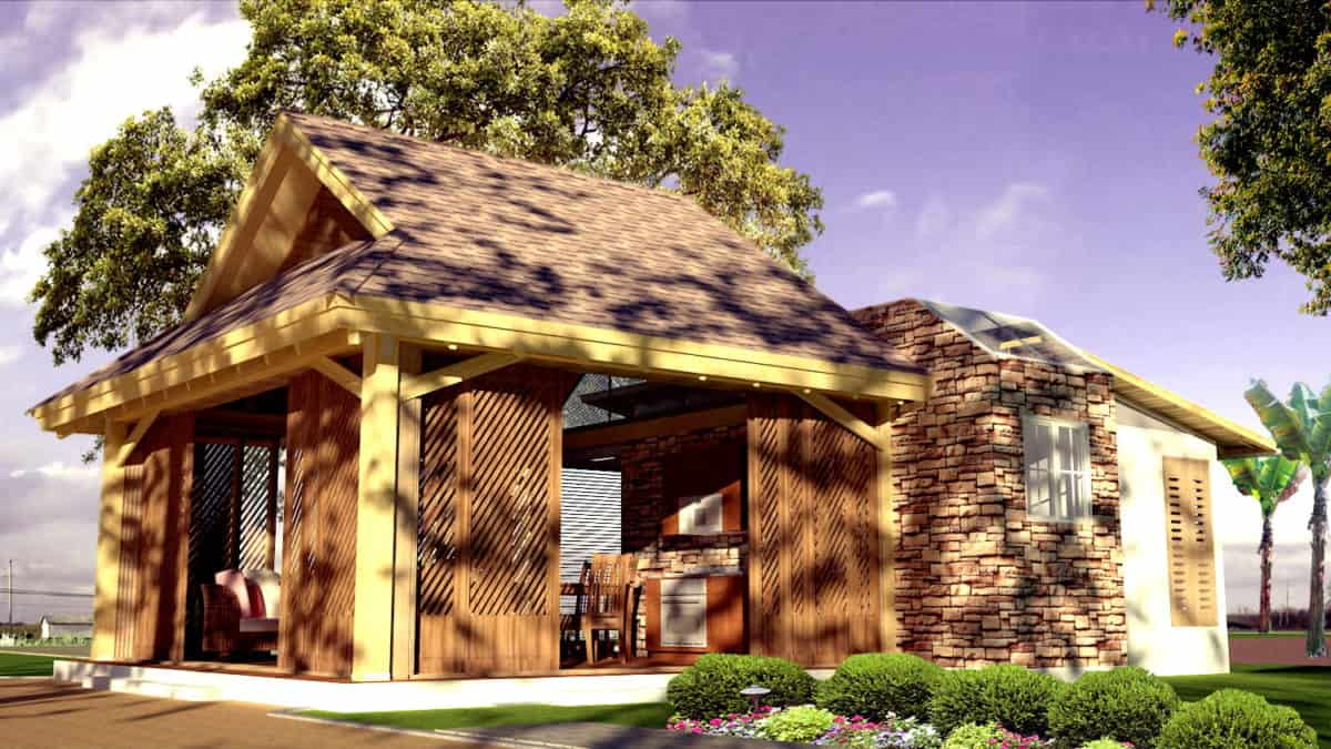Small two bedroom cottage house plan free pdg download file