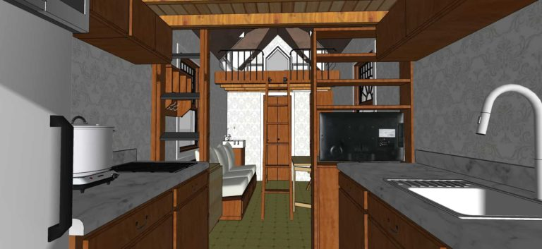 Tiny House With Loft,172 sq ft- Interior view