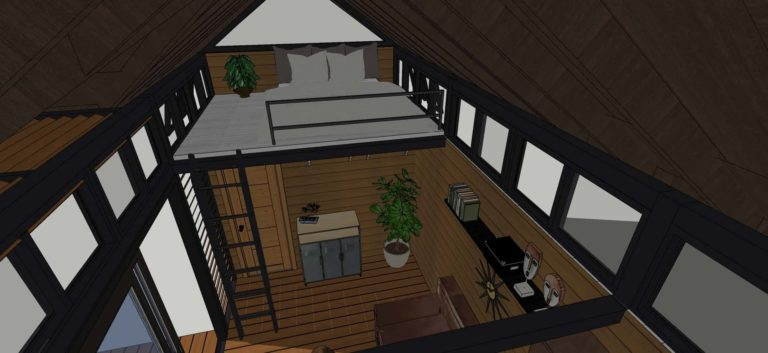 Tiny House With Loft,235 sq ft- Interior view loft