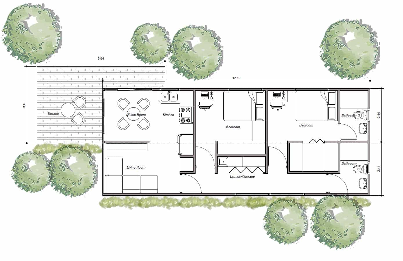 Shipping container house with two bedroom, pdf plan for free downloadplan, two 40' shipping container house