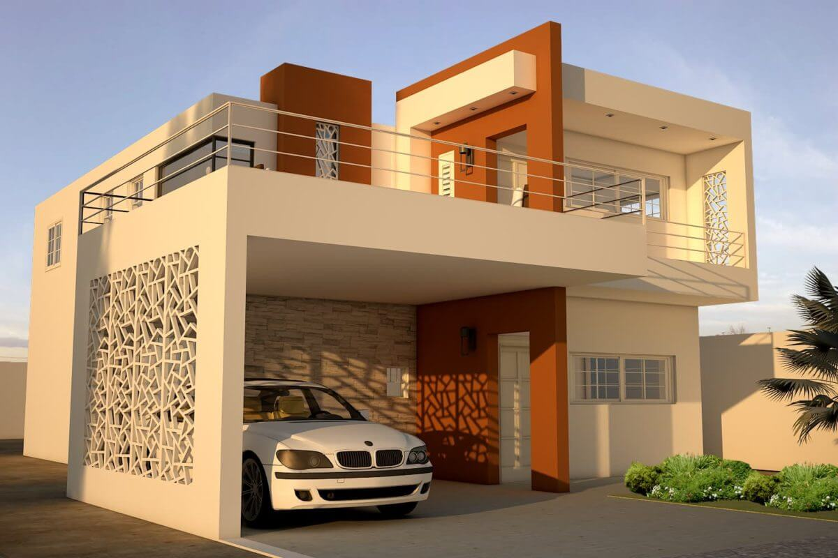 Small two storey residence with three bedroom PDF plans, free download