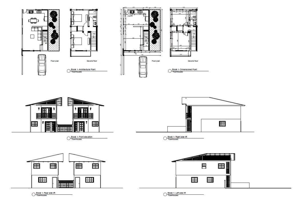 Complete plan of small two storey townhouse