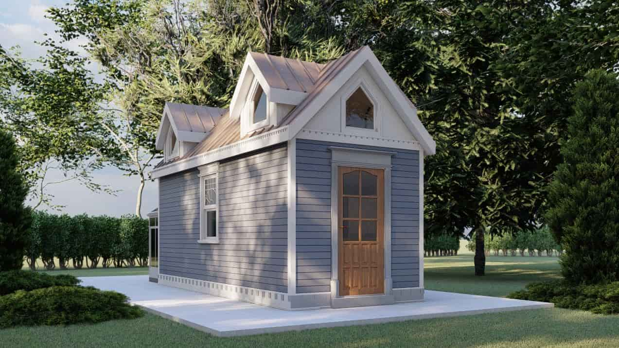 Tiny House With Loft Plans, interior and exterior photos, layout with dimensions for free download