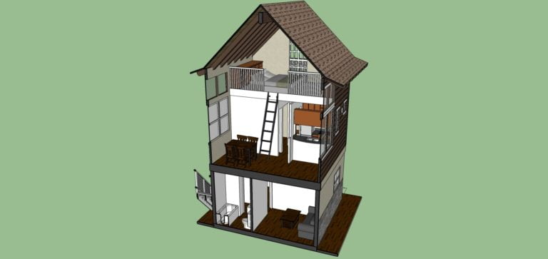 Tiny House With Loft,446 sq ft- Interior view in cut