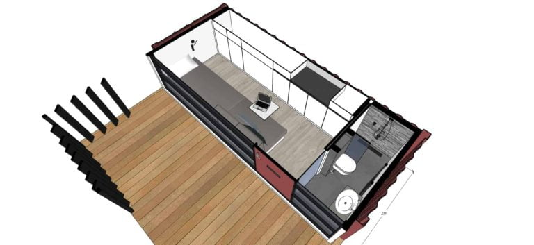 Small container house one story perspective interior view