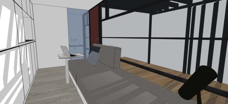 20 sq ft small shipping container house plan, one storey interior view