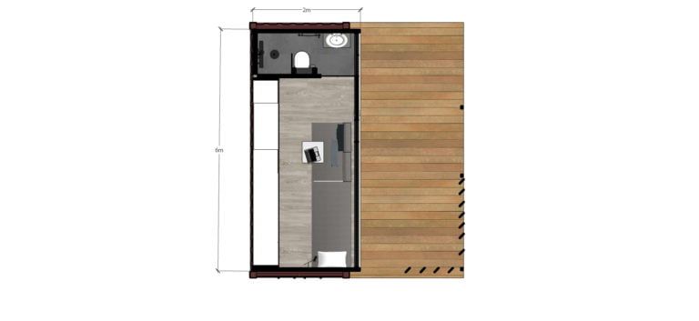 20 sq ft small shipping container house plan, one storey