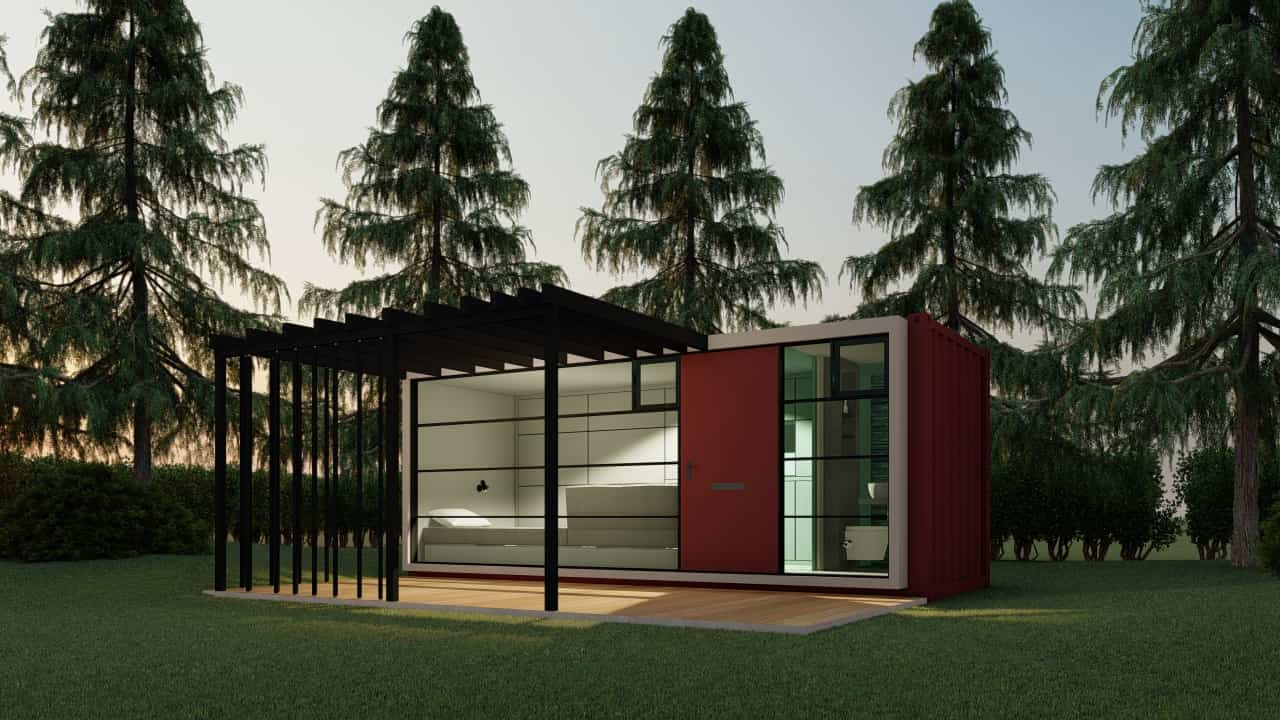 Small one-story house, architectural plan for unloading with details of interior views, house built with a 20 feet long container.