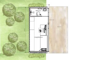 20 ft. 160 sq. ft. small container house, free downloadable floor plan with detailed interior pictures