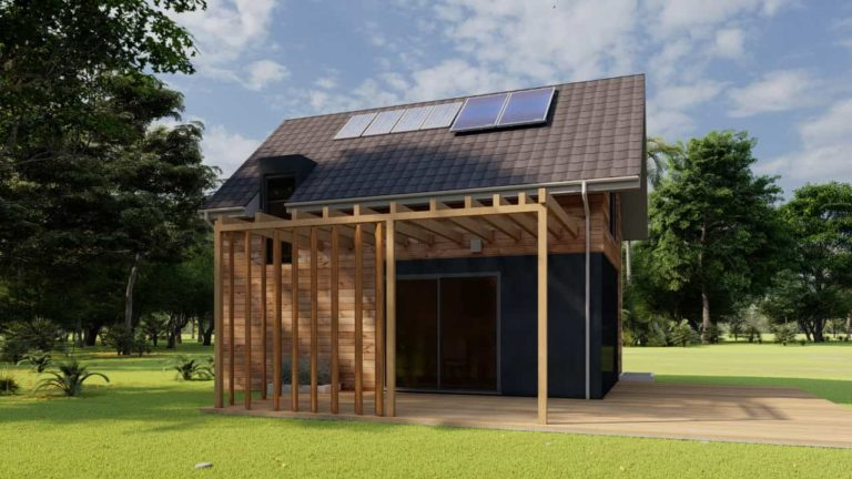Country Tiny House 299 square feet exterior perspective.