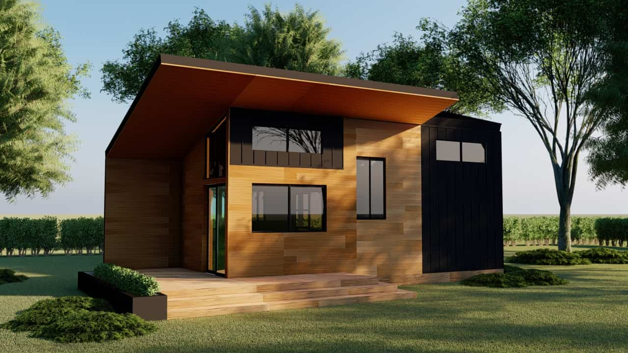 Tiny House design floorplans 213 square feet with loft, interior and exterior design with photos and plans for free download