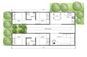 four bedroom container house architectural plant design for free download in PDF format, shipping container house plan made with two 40 ft long containers