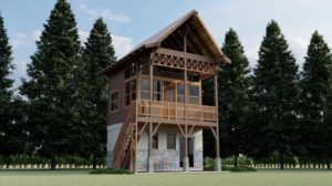 Tiny two-story country house with 446 sq. ft. loft, design with interior and exterior views and architectural floor plan sized for free download.