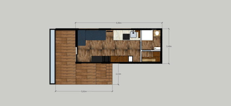 Tiny House ground floor plan 213 sqt ft