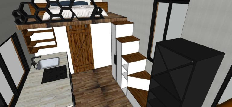 Tiny House With Loft,213 sq ft- Interior view, floor plans loft aerial view for free download