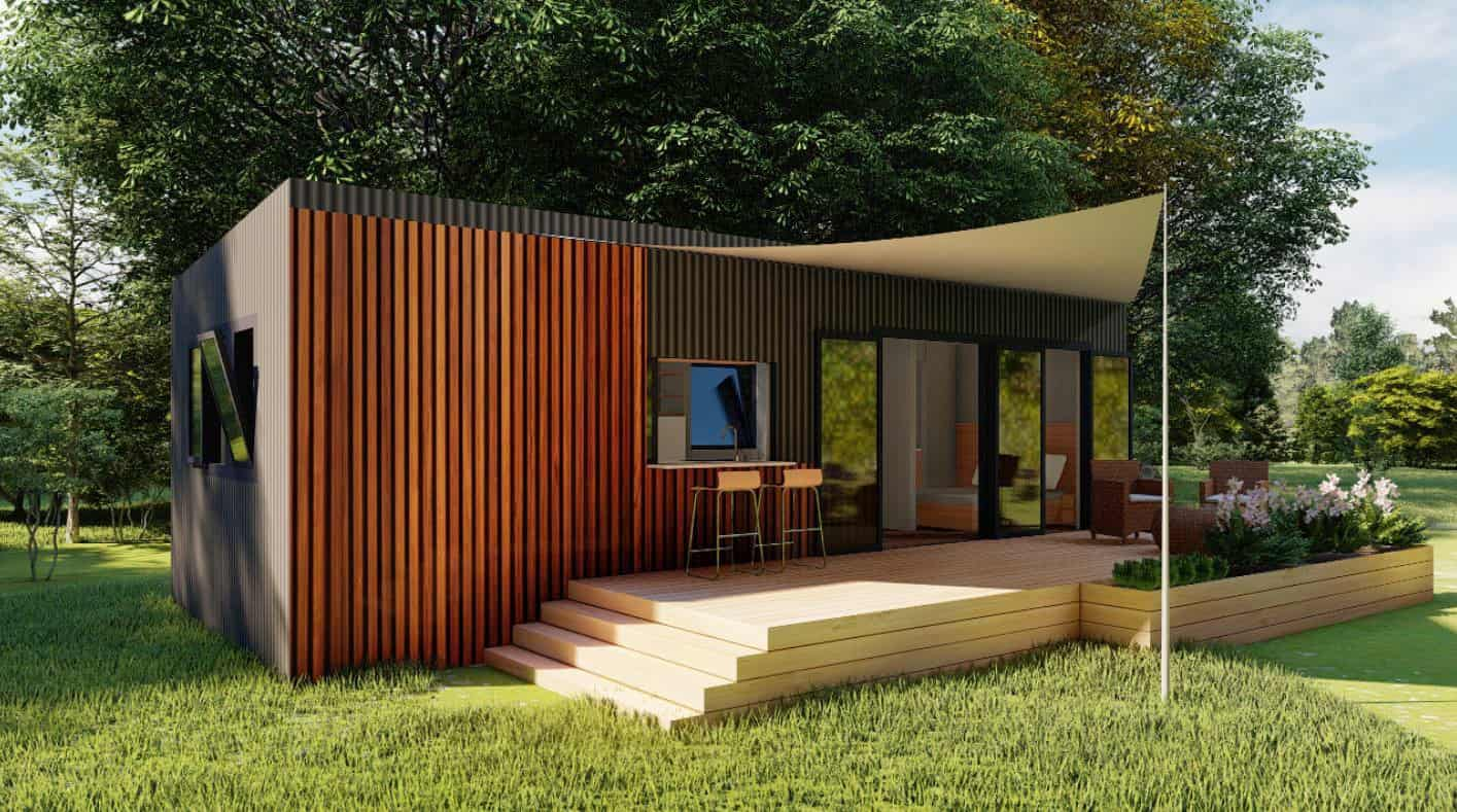 free downloadable furnished and dimensioned floor plans of a three bedroom tiny house, this tiny house does not have a loft room, all rooms are distributed on the ground floor.