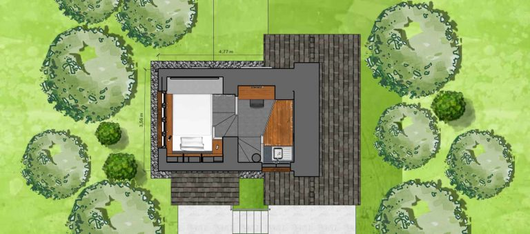 free downloadable floor plan with dimensions of tiny house two level cabin type room without loft, floor plan for free download, design by architect