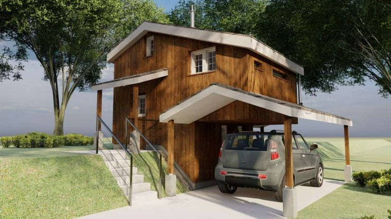 Two Storey Tiny House Cabin Plan (No Loft)