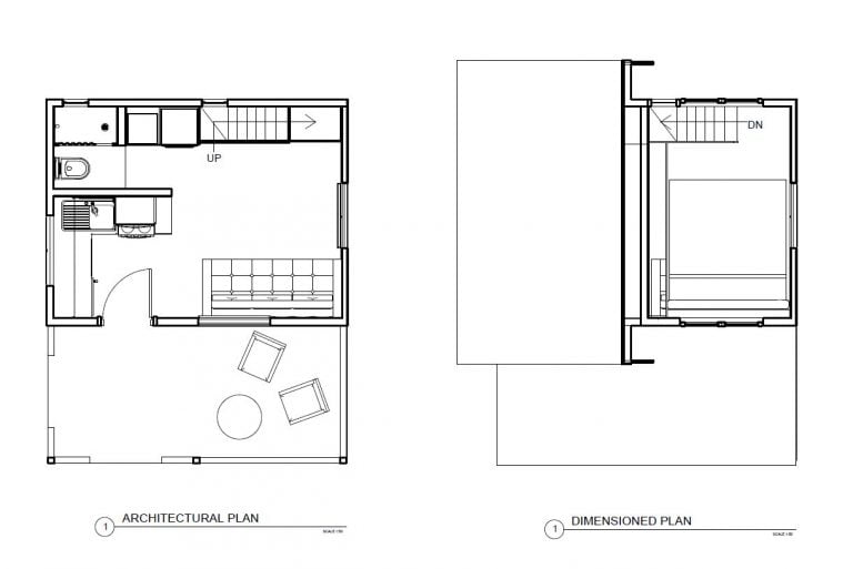 tiny minimalist two-story house with loft-style room on upper level architectural floor plan with dimensions plans available in pdf format