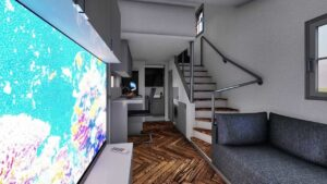 minimalist house design with detailed interior, ground and upper floor with comfortable staircase